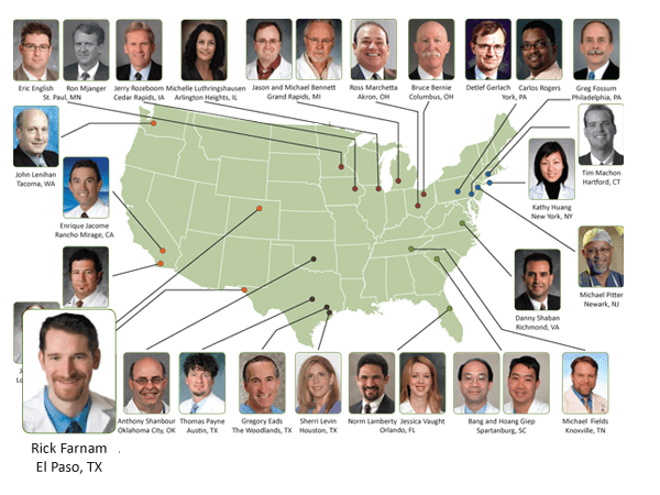 Map of experienced gynecologic surgeons